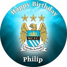 Manchester City Happy Birthday Edible Cake Topper printed on Icing Sheet 7,5