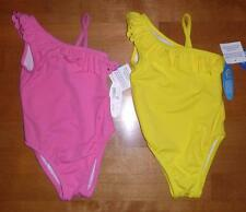 Girls One Pc ONE SHOULDER Swim Bathing Suit Size 12 24 Mo 2 4T Wave Zone Yellow
