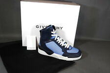 Givenchy Tyson Two Tyson 2 High Top Sneakers Blue Leather 8 9 NIB