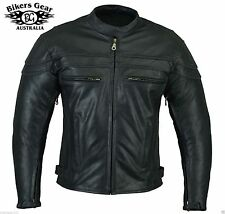 NEW STURGIS CE ARMOURED MOTORCYCLE A GRADE LEATHER JACKET REMOVABLE LINER S - 6X