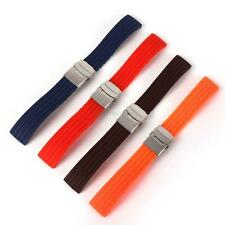 Silicone Rubber Watch Strap Band Deployment Buckle Waterproof Band Strap 16~24mm