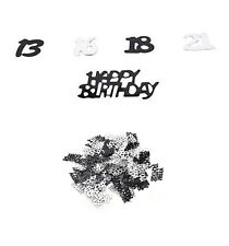 21st Birthday Party Supplies Confetti Black Silver Table Scatters Decorations LI