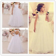 Flower Girl Dress Wedding Birthday Prom Pageant Party puffed tulle Lace Age2-14