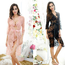 Women's Sexy Lingerie Nightwear Sleepwear Lace Dress G-string Bra Belt Set