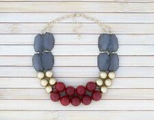 Statement Bib Necklace Cranberry Red Gold and Gray Chunky Bold Jewelry Gift Idea