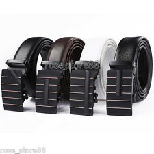Fashion Luxury Mens Genuine Leather Automatic Buckle Waist Strap Belt Waistband