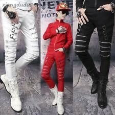 Stylish Men's Motorcycle Patent leather Buckle Skinny Punk Casual Trousers new #