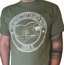 Gibson Sg heavy rock n roll stoner guitar music classic olive t shirt