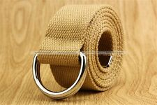 Men Women Unisex Canvas Waist  Belt Metal D Ring Buckle Waistband S3