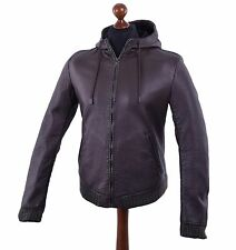 DOLCE & GABBANA Lined Nappa Leather Jacket with Hoody Brown 04564
