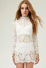 Forever 21 White Boho Lovecat Sheer Lace Floral Crochet Dress  Small S