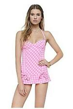 NWT $173 JUICY COUTURE GINGHAM UNDERWIRE SWIMDRESS SWIMSUIT, XSMALL SHEL-SHOCK