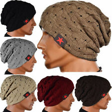 Men Women Knit Beanie Reversible Skull Chunky Baggy Cap Unisex Winter Warm Hat