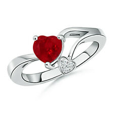 Natural Diamond Heart Ruby Solitaire Engagement Ring 14k White Gold Size 7