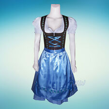 DIRNDL Trachten German Oktoberfest DRESS 3-Piece For Party Waitress Dress Blue