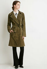 Sold Out Forever 21 Olive Green Genuine Suede Leather Belted Trench Coat Small S