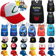 Pokemon Go Team Valor Instinct Mystic Anime Backpack School Bag/Baseball Cap Hat