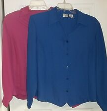 Womens Plus LIZ BAKER Button Down BLOUSE sz 18W~NEW Blue Purple Dress Shirt Top