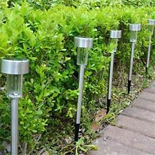 New  Hot 12Pcs Outdoor Stainless Steel LED Solar Landscape Path Lights Yard Lamp