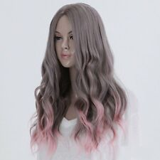 Full Long Curly Hair Style Wigs Cosplay Party Costume Wigs Gray And Pink JK~