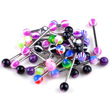50/60PCS New Mixed Logo Ball Tongue Bars Rings Barbell Piercing Stainless Steel