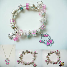 Child girl Silver Charm Bracelet Necklace Set european Minnie Hello Kitty Barbie