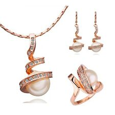 Women 18K Gold Plated Fashion Crystal Pearl Necklace Earrings Ring Jewelry Set