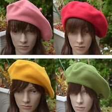 Quality Women's Ladies 100% Soft Wool Large French Beret Tam Beanie Slouch Hat