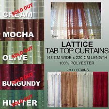 Lattice Sheer Tab Top ready to hang Curtains (Double)