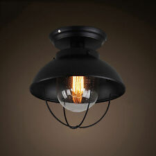Industrial Metal Dome Seeded Glass 1-Light Semi Flush Mount Ceiling Lights Lamp