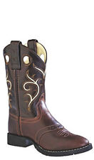 Old West Brown Childrens Boys All Leather Stitch Round Toe Cowboy Boots