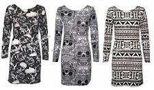 Bodycon Ladies Skull Flower Print Tribal Aztec Tunic Dress G83 IN08-14 New