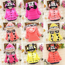 Baby Kids Girls Cartoon Winter Hooded Hoodie Coat Jacket Outwear Toddler Clothes