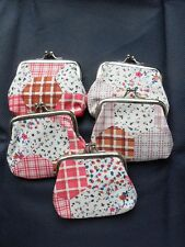 Kiss Lock Coin Bag Change Purse Cloth Clutch Wallet Pink Checkered Floral