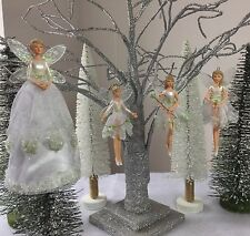 Gisela Graham Snowdrop Fairy Christmas Tree Topper Or Decorations Vintage White