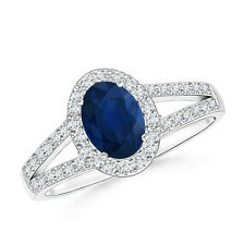 Oval Natural Blue Sapphire Diamond Halo Engagement Ring 14k White Gold