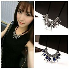 Women Crystal Rhinestone Necklace Choker Bib Statement Chunky Collar Chain