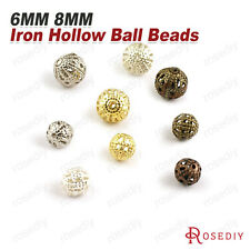 100PCS 6MM 8MM Iron Hollow Metal ball Spacer Beads Findings Accessories 4362