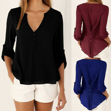 Long sleeves V-neck Tee Shirt Casual Loose Tops Chiffon Summer Blouse Women Hot