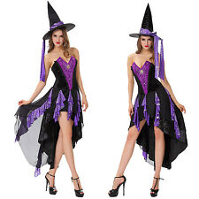 Women Sexy Wicked Witch Evil Halloween Party Costume Fancy Purple Dress Cosplay