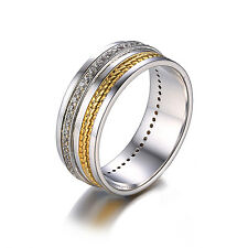 Two-Tone Wedding Band Ring CZ Solid 925 Sterling Silver 18k Gold Plated