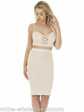 Womens Crossover Bodycon Two Piece Midi Dress Size 6 8 10 12