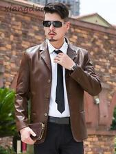 Men Fashion Faux Leather Outwear Slim Fit Trench Winter Dress Formal Coat Jacket
