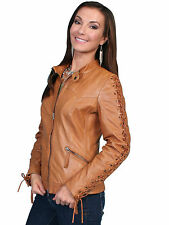 Scully Leather Womens Lace Up Sleeves Lamb Skin Motorcycle Jacket Saddle Tan
