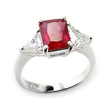Sterling Silver Simulated Ruby Cocktail Ring Red Cubic Zirconia Size 6 7 8 9 USA