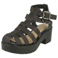 Girls Spot On Heeled PU Gladiator Sandals - No boxes