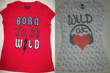 Juniors XL Summer Top Red Born to Be Wild, Ivory Wild at Heart New FREE SHIPPING
