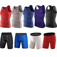 Mens Compression Baselayer Tights Vest Top Shorts Under Skin Pant Sports Running