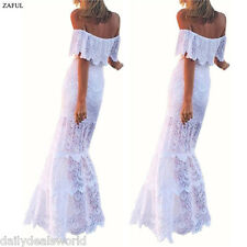 Sexy White Sheer Lace Crochet Summer Boho Long Dress Evening Party Casual Beach