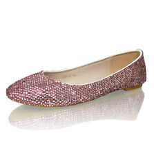Marc Defang Baby Pink Crystals Luxury Bridal Wedding Ballet Flats
